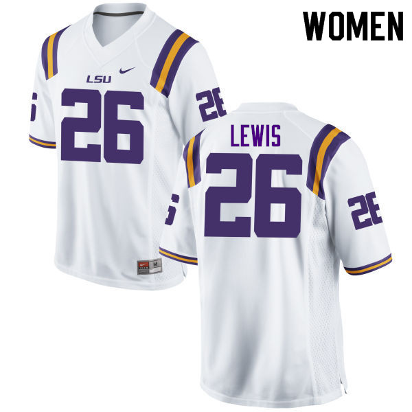 Women #26 Adam Lewis LSU Tigers College Football Jerseys Sale-White
