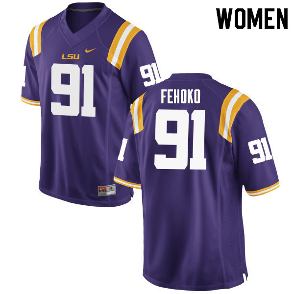 Women #91 Breiden Fehoko LSU Tigers College Football Jerseys Sale-Purple