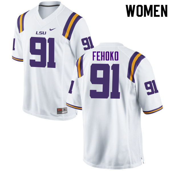 Women #91 Breiden Fehoko LSU Tigers College Football Jerseys Sale-White