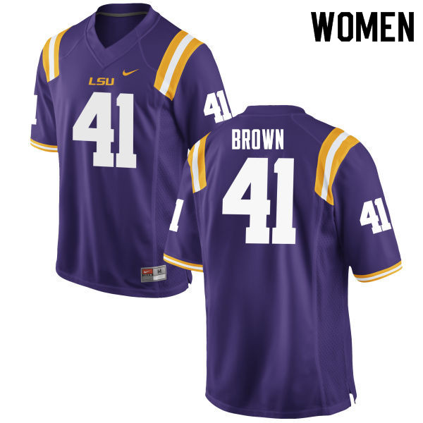 Women #41 Caleb Brown LSU Tigers College Football Jerseys Sale-Purple