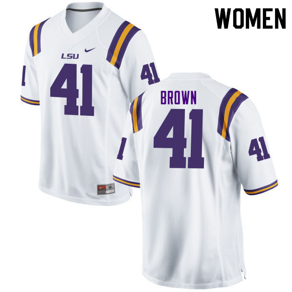 Women #41 Caleb Brown LSU Tigers College Football Jerseys Sale-White