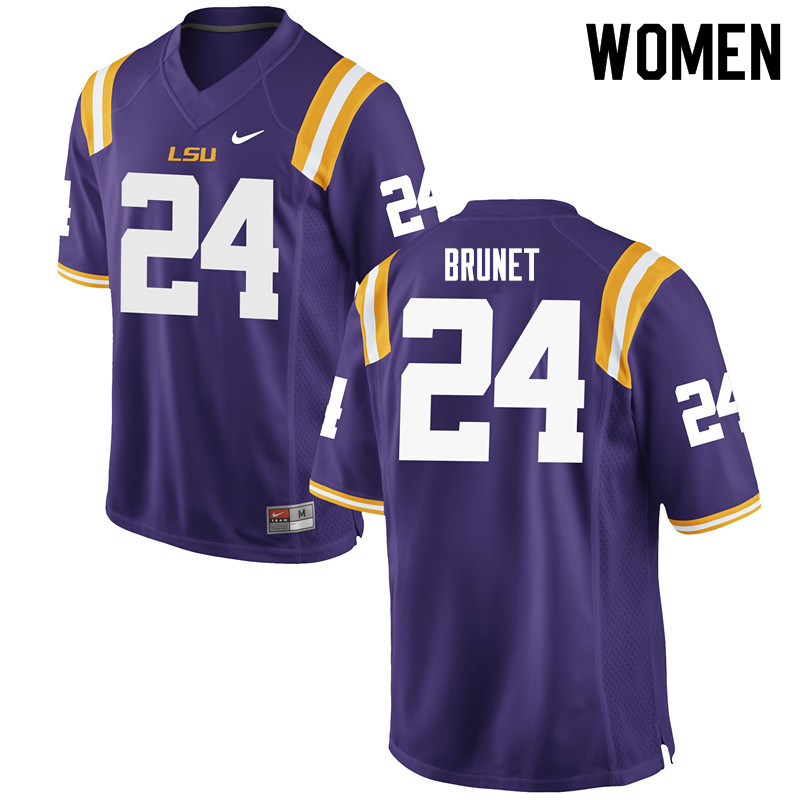 Women #24 Colby Brunet LSU Tigers College Football Jerseys Sale-Purple