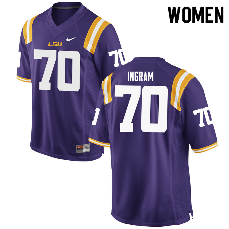 Women #70 Edward Ingram LSU Tigers College Football Jerseys Sale-Purple