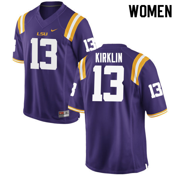 Women #13 Jontre Kirklin LSU Tigers College Football Jerseys Sale-Purple