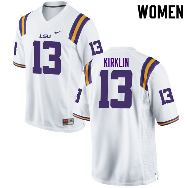 Women #13 Jontre Kirklin LSU Tigers College Football Jerseys Sale-White