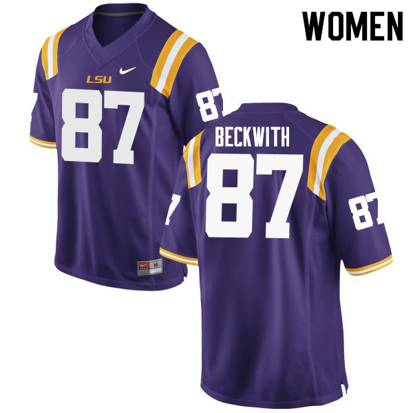 Women #87 Justin Beckwith LSU Tigers College Football Jerseys Sale-Purple