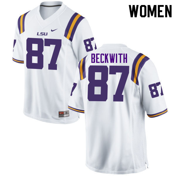 Women #87 Justin Beckwith LSU Tigers College Football Jerseys Sale-White