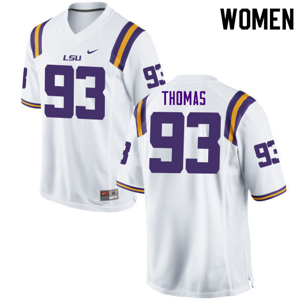 Women #93 Justin Thomas LSU Tigers College Football Jerseys Sale-White