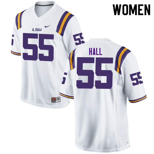 Women #55 Kody Hall LSU Tigers College Football Jerseys Sale-White