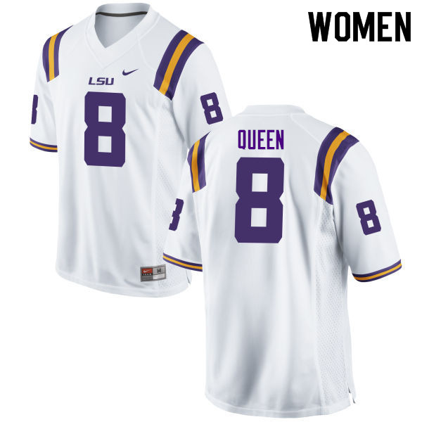 Women #8 Patrick Queen LSU Tigers College Football Jerseys Sale-White
