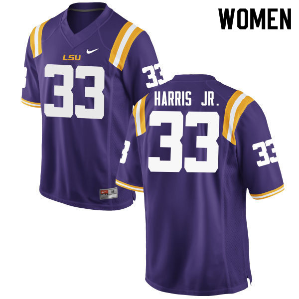 Women #33 Todd Harris Jr. LSU Tigers College Football Jerseys Sale-Purple