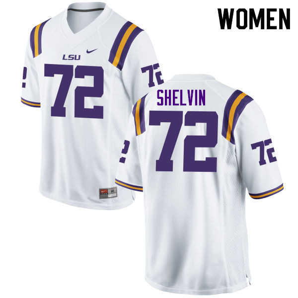 Women #72 Tyler Shelvin LSU Tigers College Football Jerseys Sale-White