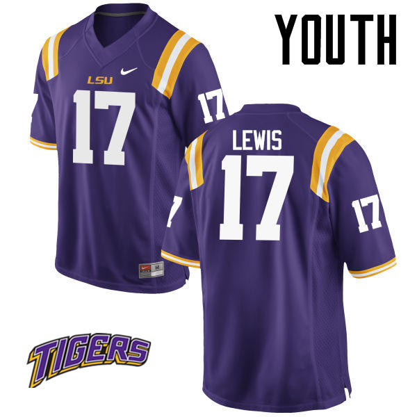 Youth #17 Xavier Lewis LSU Tigers College Football Jerseys-Purple