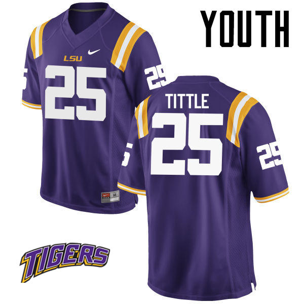 Youth #25 Y. A. Tittle LSU Tigers College Football Jerseys-Purple