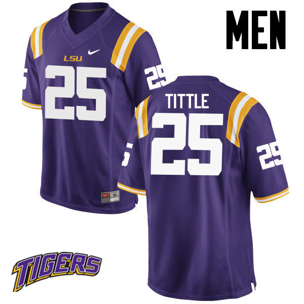Men's #25 Y. A. Tittle LSU Tigers College Football Jerseys-Purple