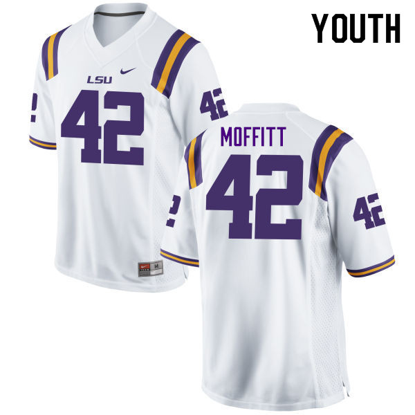 Youth #42 Aaron Moffitt LSU Tigers College Football Jerseys Sale-White