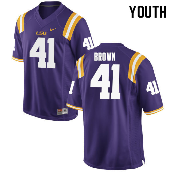 Youth #41 Caleb Brown LSU Tigers College Football Jerseys Sale-Purple