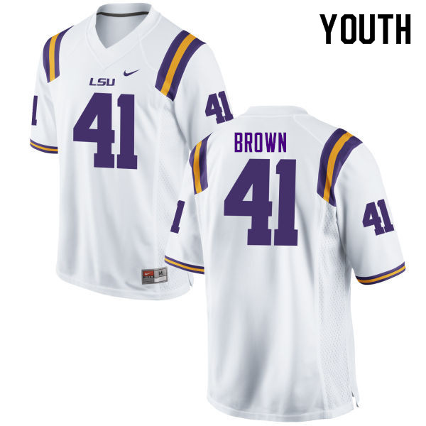 Youth #41 Caleb Brown LSU Tigers College Football Jerseys Sale-White