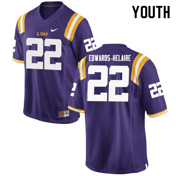 Youth #22 Clyde Edwards-Helaire LSU Tigers College Football Jerseys Sale-Purple
