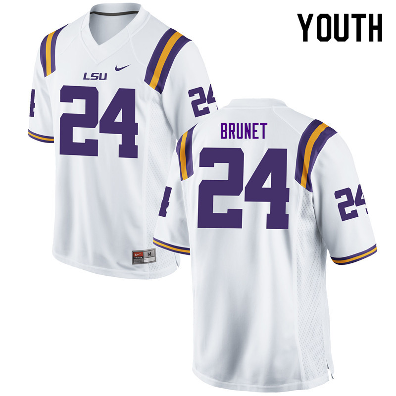 Youth #24 Colby Brunet LSU Tigers College Football Jerseys Sale-White