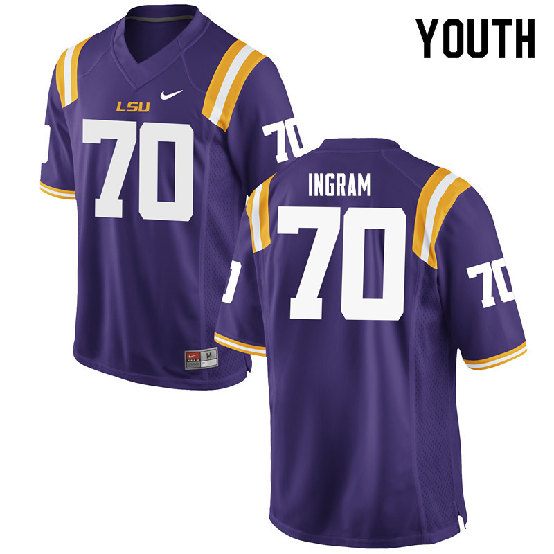 Youth #70 Edward Ingram LSU Tigers College Football Jerseys Sale-Purple