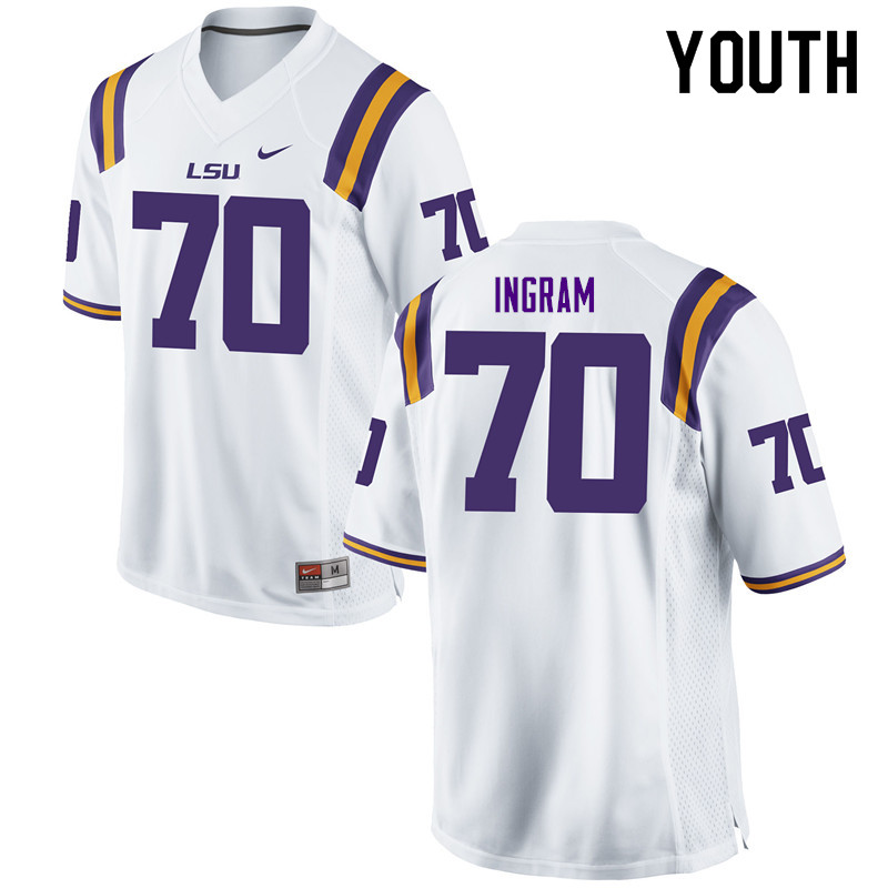 Youth #70 Edward Ingram LSU Tigers College Football Jerseys Sale-White