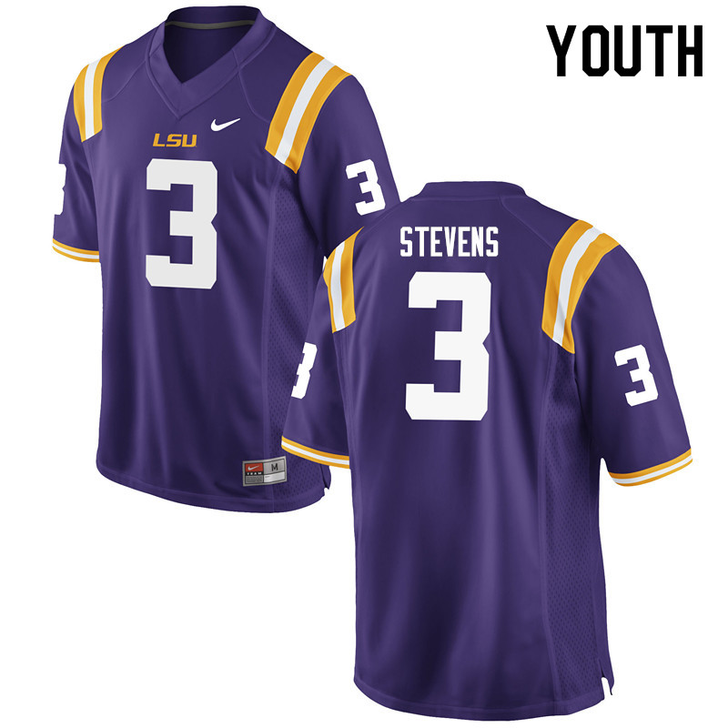 Youth #3 JaCoby Stevens LSU Tigers College Football Jerseys Sale-Purple