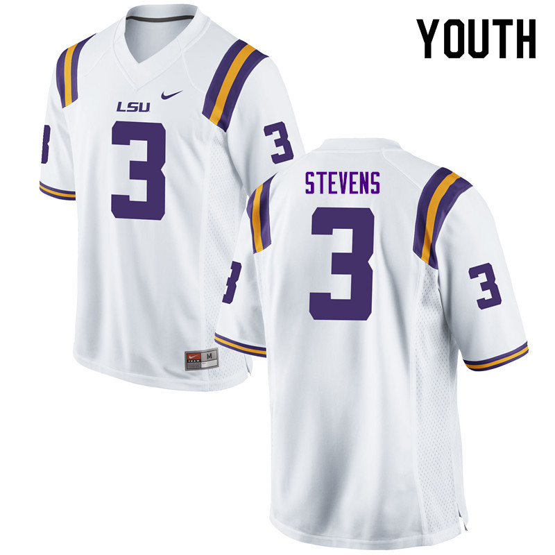 Youth #3 JaCoby Stevens LSU Tigers College Football Jerseys Sale-White