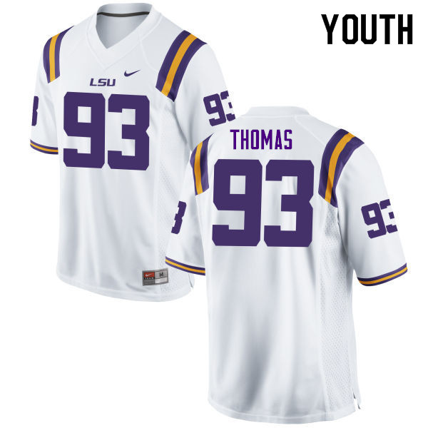 Youth #93 Justin Thomas LSU Tigers College Football Jerseys Sale-White