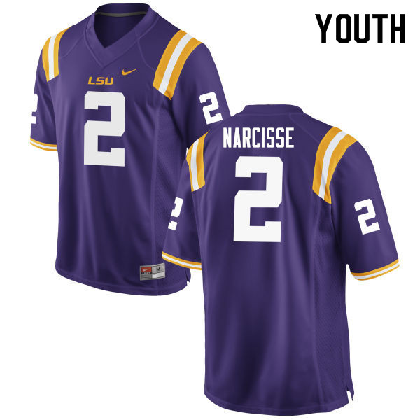 Youth #2 Lowell Narcisse LSU Tigers College Football Jerseys Sale-Purple