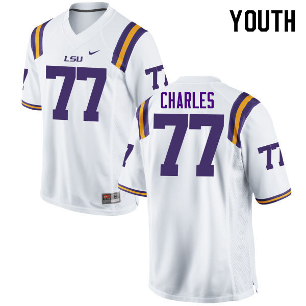 Youth #77 Saahdiq Charles LSU Tigers College Football Jerseys Sale-White