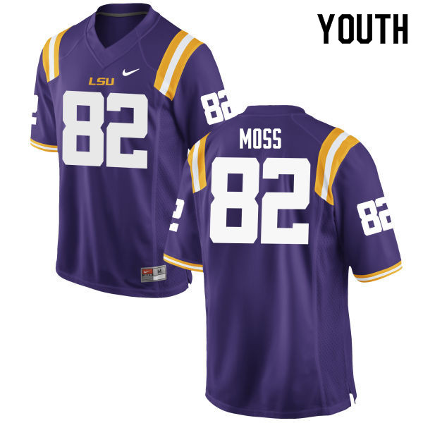 Youth #82 Thaddeus Moss LSU Tigers College Football Jerseys Sale-Purple