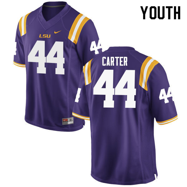Youth #44 Tory Carter LSU Tigers College Football Jerseys Sale-Purple