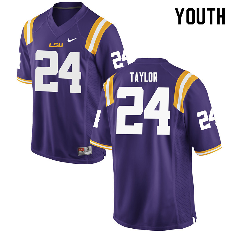 Youth #24 Tyler Taylor LSU Tigers College Football Jerseys Sale-Purple